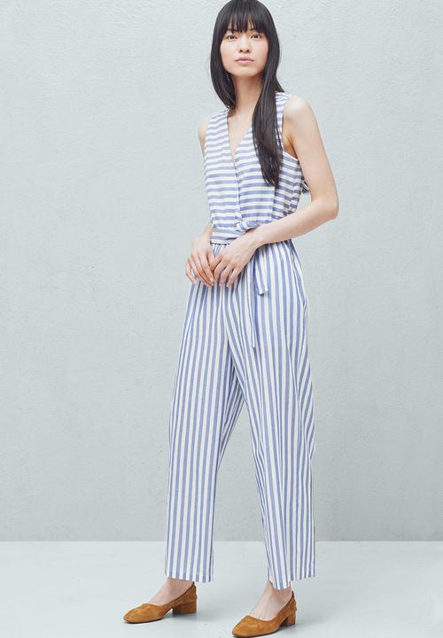 ed97ec21626f Striped Jumpsuit Blue and White MANGO Jumpsuits   Playsuits ...