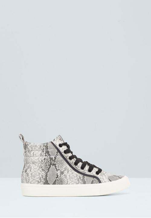 Snakeskin High top Sneakers Black and White