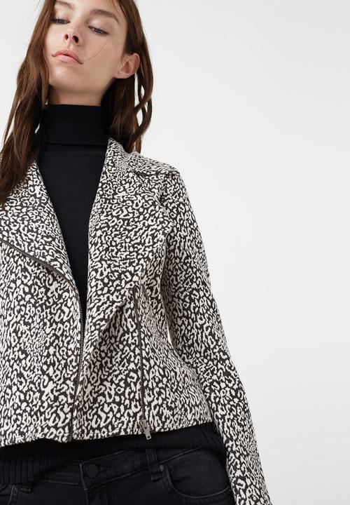 c5b2e9dd623e Animal Print Biker-style Jacket Black and White MANGO Jackets ...