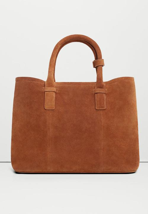 78b2c811a8 Suede Double Handle Shopper Bag Tan MANGO Bags   Purses ...