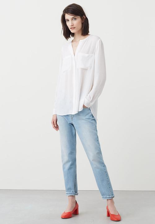 fc99d3cb0b5883 Long Sleeve Flowy Shirt White MANGO Shirts