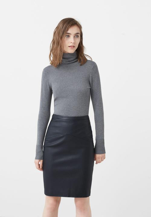 75ccbe8a53 Leather Look Pencil Skirt Navy MANGO Skirts | Superbalist.com