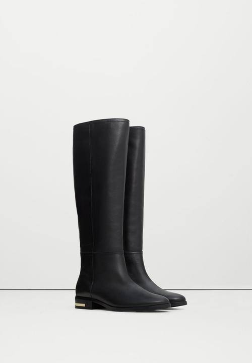 b9c064d5064 Leather Knee-length Boots Black MANGO Boots