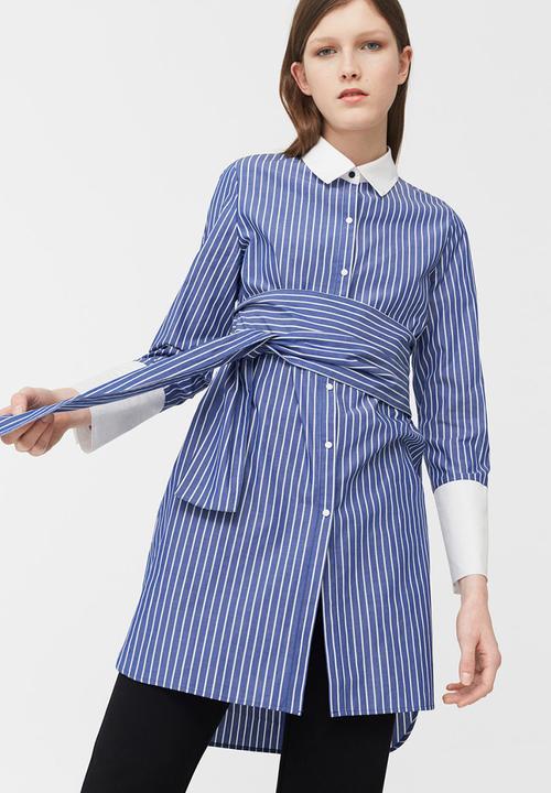 86fbb00dad Oversized Striped Shirt Blue and White MANGO Shirts   Superbalist.com