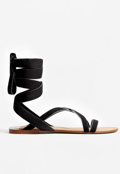 ecc191c3def Velvet Strappy Sandals Black MANGO Sandals   Flip Flops ...