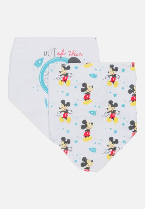 11f09cb2354 Mickey Mouse 2 Pack Bandana Bibs Multi-colour Character Baby ...