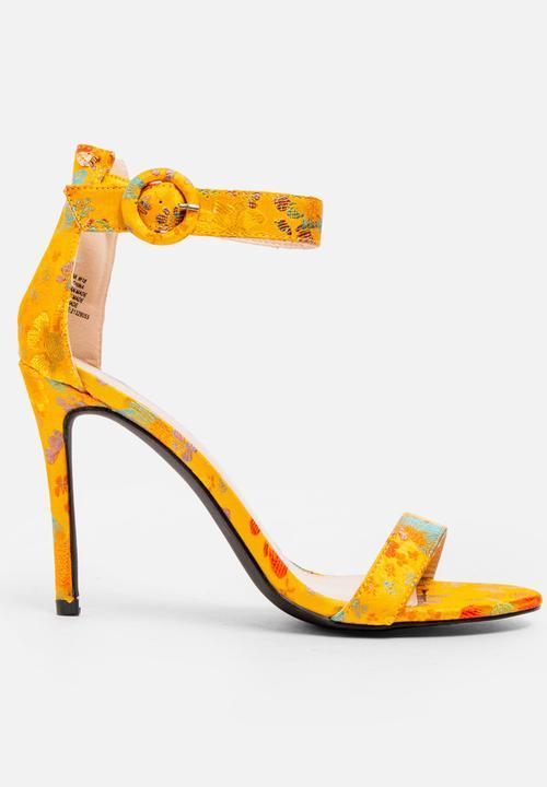 Corinna Open Toe Heels Yellow and White Miss Black Heels ... 816abc4f5