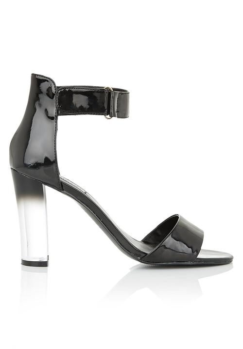 b8bb1d64c9 Ankle strap heels with clear heel Black Madison Black Heels ...