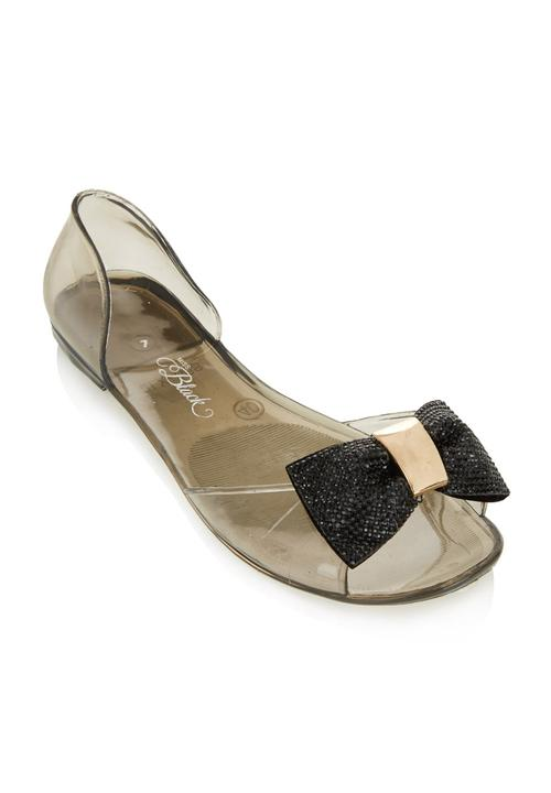 8a96549ecfa99 Jelly sandals with bow Black Miss Black Sandals   Flip Flops ...