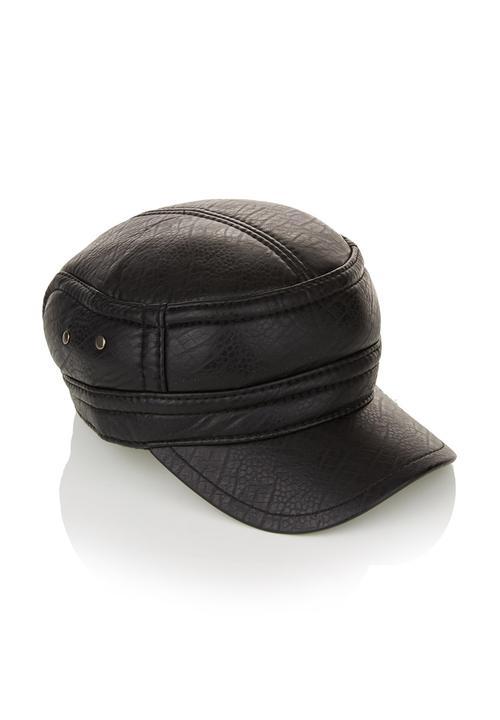 Leather-like train driver hat Black Jo Borkett Fashion Accessories ... cb6d720a2db