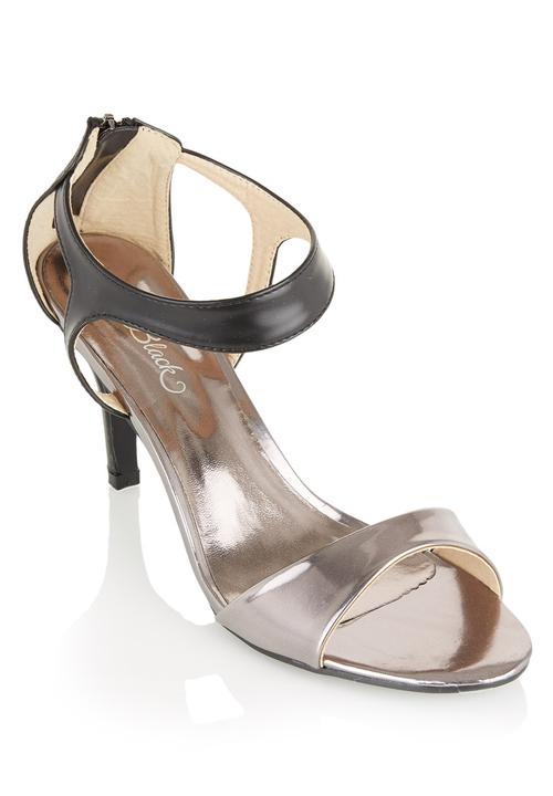 eda452ac77 Metallic Strappy Heels Silver Miss Black Heels | Superbalist.com