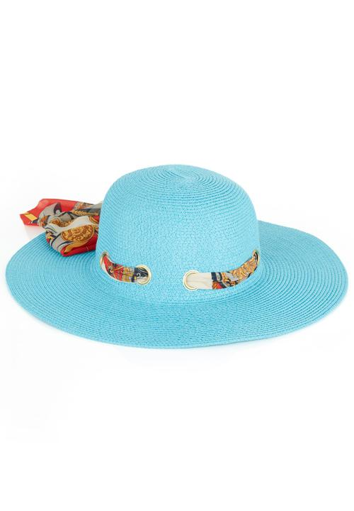 816c7c48613 Sun Hat with Paisley Scarf Blue edge Fashion Accessories ...