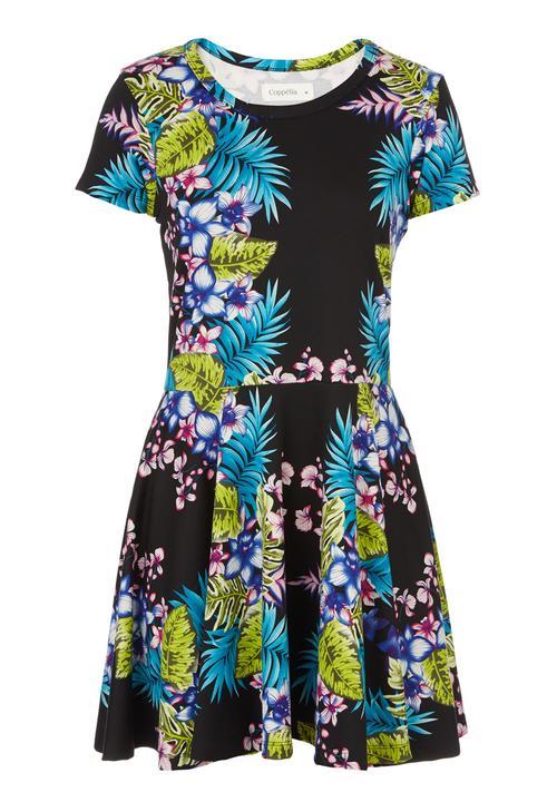 fc194568498 Tropical-print Skater Dress Black Coppelia Casual