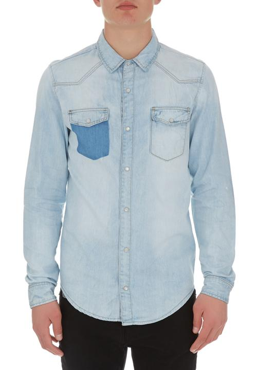 5dd76cddd35 Washed-out Denim Shirt Pale Blue Traffic Shirts