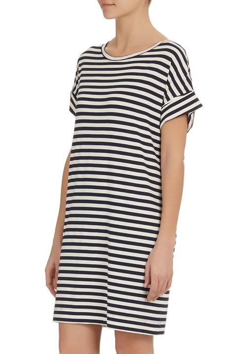 Striped T-shirt Dress Blue White edge Casual  5951ec1501c4