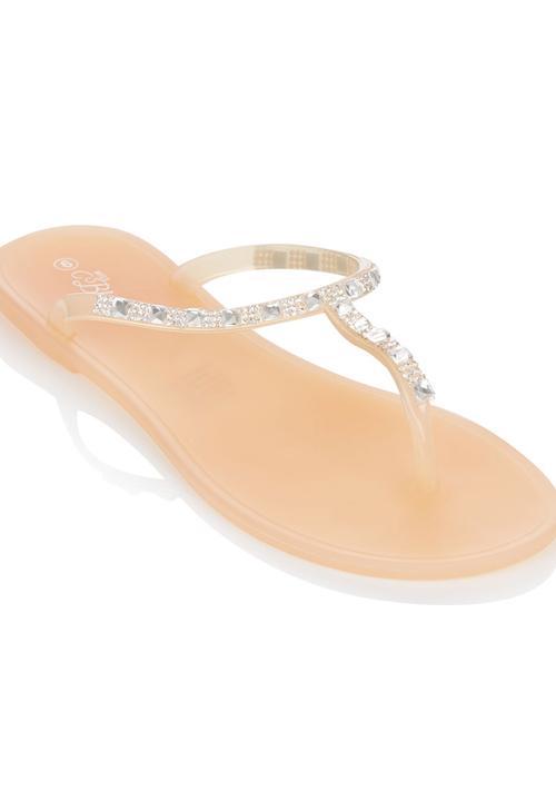 7dc17d08d Embellished Jelly Sandals Neutral Miss Black Sandals   Flip Flops ...