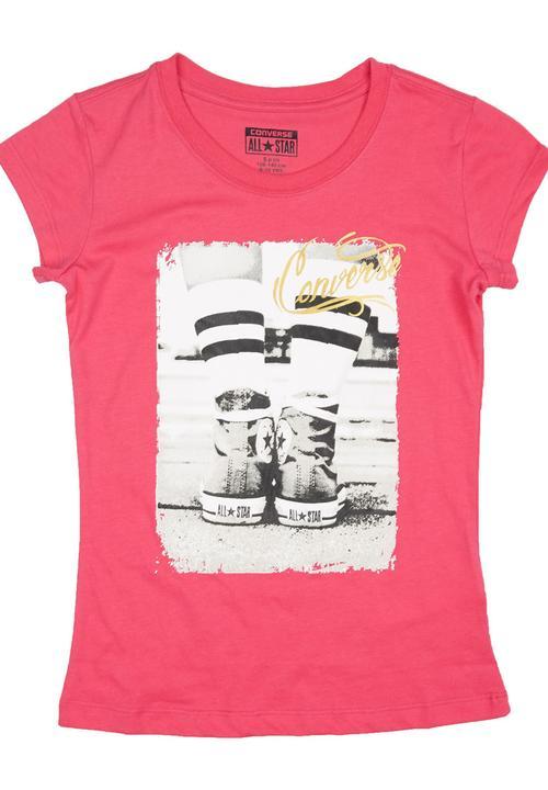 465f14577b79 Vintage Girls T-shirt Pink Converse Tops