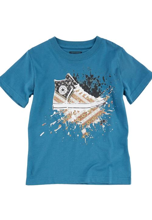 aeb608aee20f T-Shirt with Converse Shoe Print Mid Blue Converse Tops ...