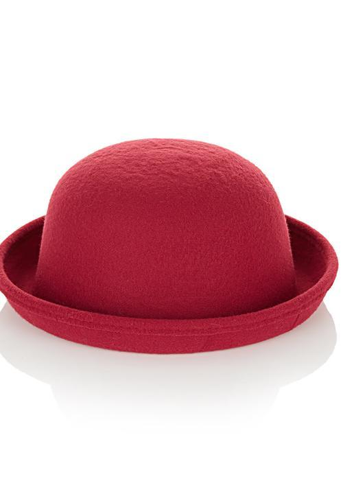 5eea60d8ae122 Felt Bowler Hat Dark Red AVANTGARDE Fashion Accessories ...