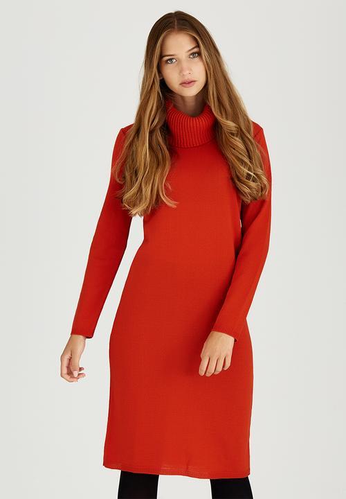 520a32b6b085 Poloneck Jersey Dress Orange edit Casual