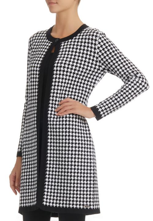 d51bf0be4 Pringle of Scotland - Houndstooth Knit Coat Black White Black and White