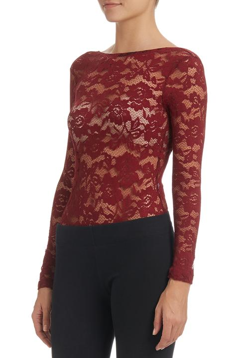 long sleeve lace bodysuit maroon Dark Red Paige Smith Blouses ... 7583bb4bf