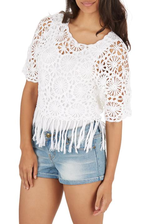 Isla Crochet Fringe Top White London Hub Blouses Superbalistcom