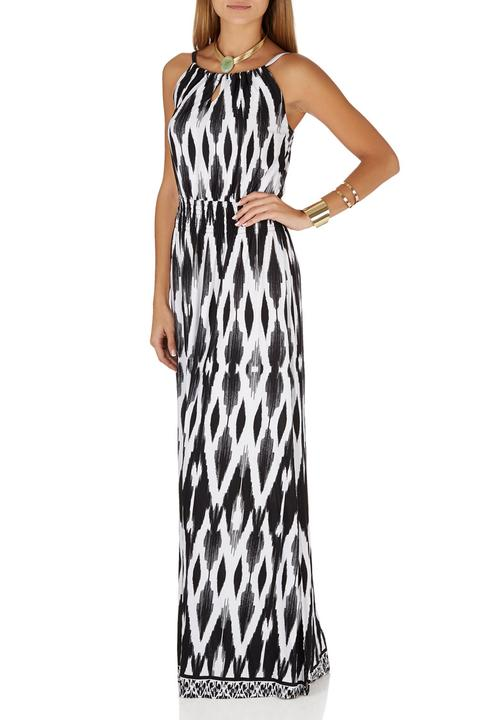 eb879759838 Printed Strappy Maxi Dress Black and White G Couture Casual ...