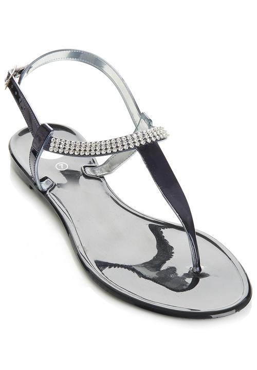 328df97c686a Diamante Jelly Sandals Black Footwork Sandals   Flip Flops ...