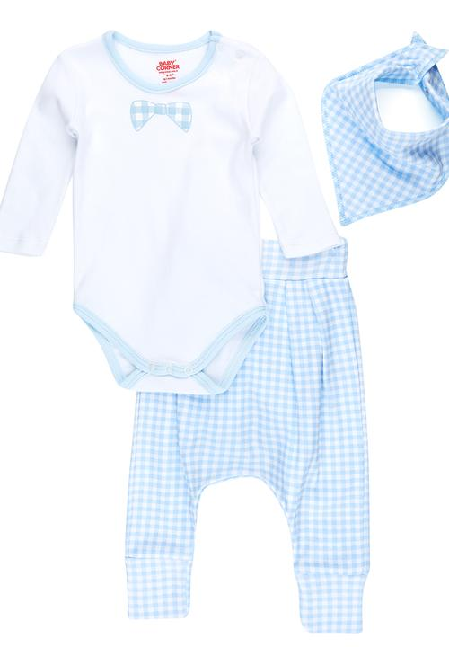0e8c996e990 Harem Pants and Bow Tie Set Blue and White Baby Corner Sets ...