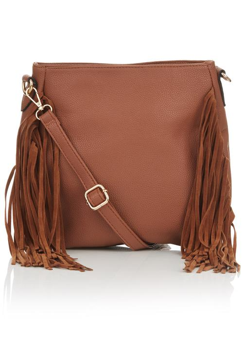 2f17838d1dd8 Side Fringe Cross-Body Bag Tan STYLE REPUBLIC Bags   Purses ...