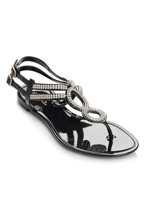 5841c476b60f Diamante Jelly Sandals Black Diva Sandals   Flip Flops