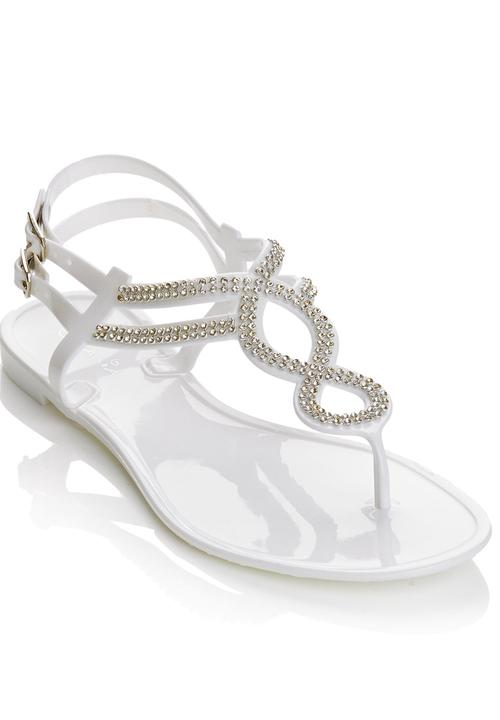 a299b98bdff8 Diamante Jelly Sandals White Diva Sandals   Flip Flops