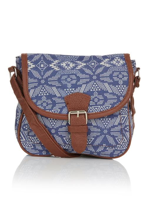 7ad95c8ce5be Printed Mini Cross-body Bag Blue and White c(inch) Bags   Purses ...