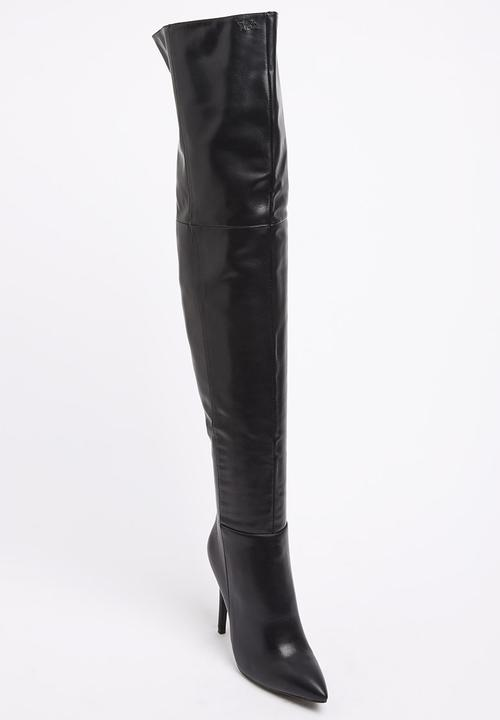 32cabd59aaf8b High Heel Pointed-toe Thigh-high Boots Black Plum Boots ...