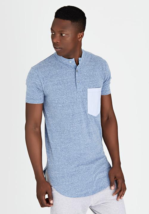 2d158d99e2 Plain Henley T-shirt Blue