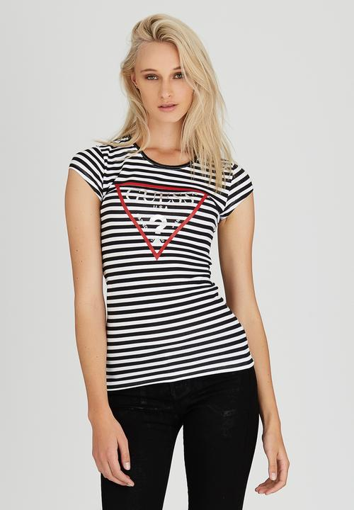 2faf6dc07d Classic Striped Logo Tee Black and White GUESS T-Shirts, Vests ...