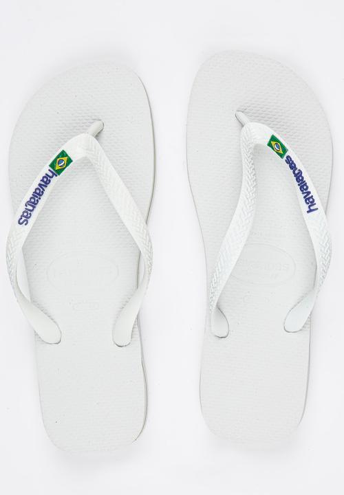 1e46ffa9f24 Brazil Logo Flip Flops White Havaianas Sandals   Flip Flops ...