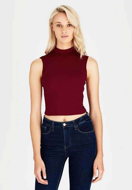 cc60870c25f023 High Neck Crop Top Dark Red c(inch) T-Shirts