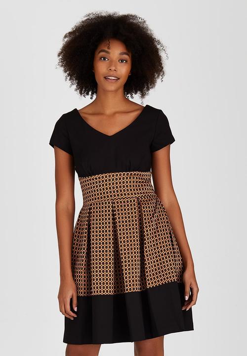 f2f58a7dd5bc Polka Metallic Contrast Dress Brown/Black Closet London Formal ...