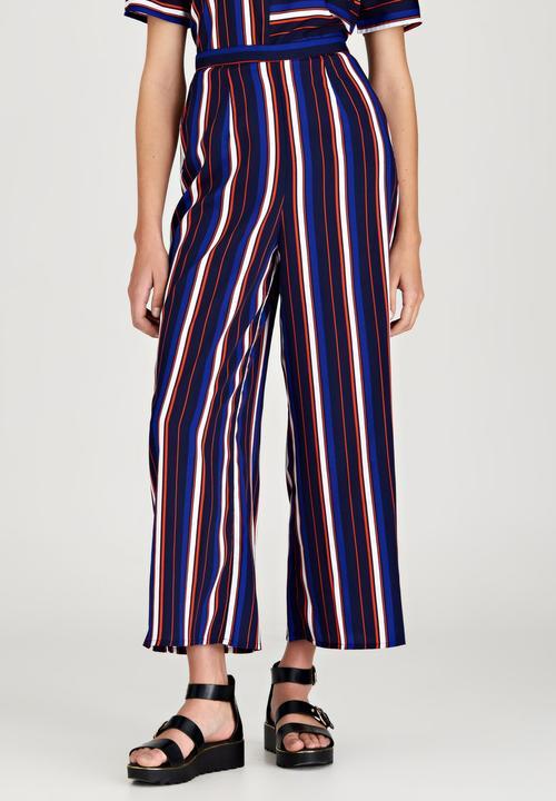 e01c4fc440 Stripe Print Wide Leg Pants Navy London Hub Trousers | Superbalist.com