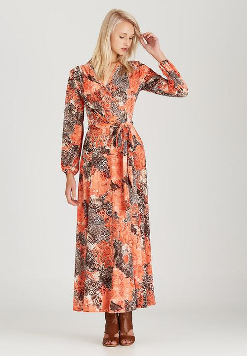 19771554215 Printed Maxi Wrap Dress Coral Jo Champ Casual