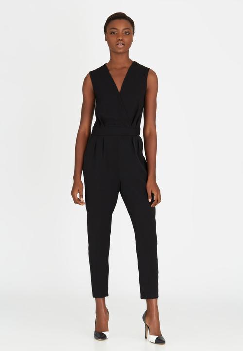 4a0b4e16c571 Glitter Contrast Top Cross-over Jumpsuit Black Closet London ...