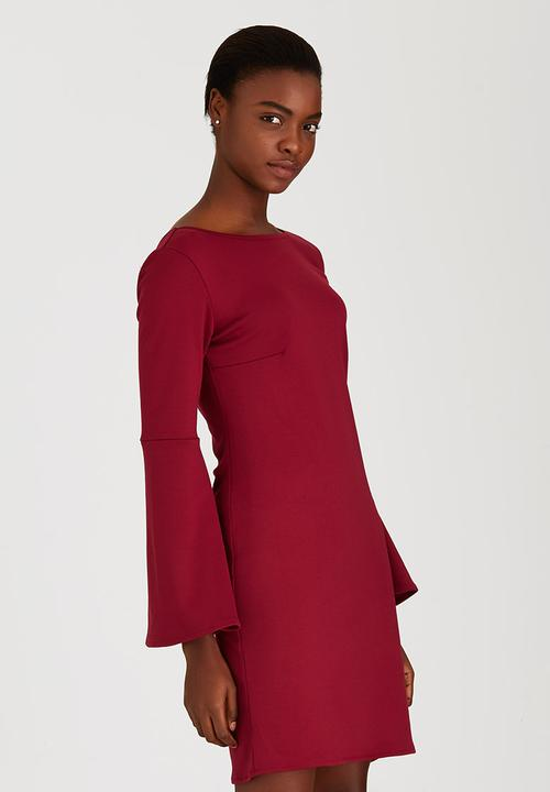 fd9eb165b80a Bodycon Dress with Bell Sleeves Dark Red c(inch) Formal ...