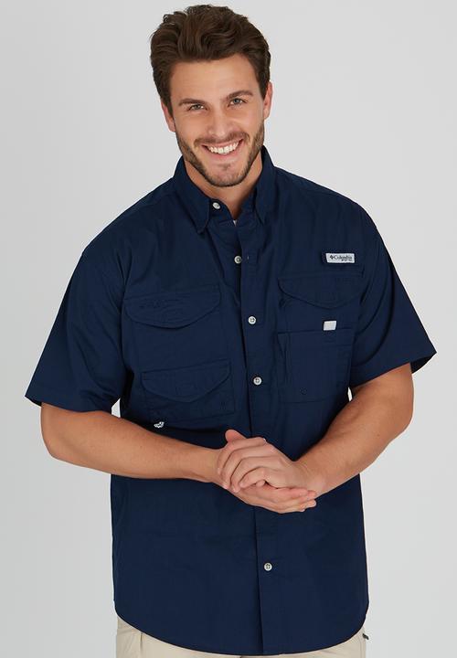 6057e901883135 Bonehead Short Sleeve Shirt Navy Columbia Shirts