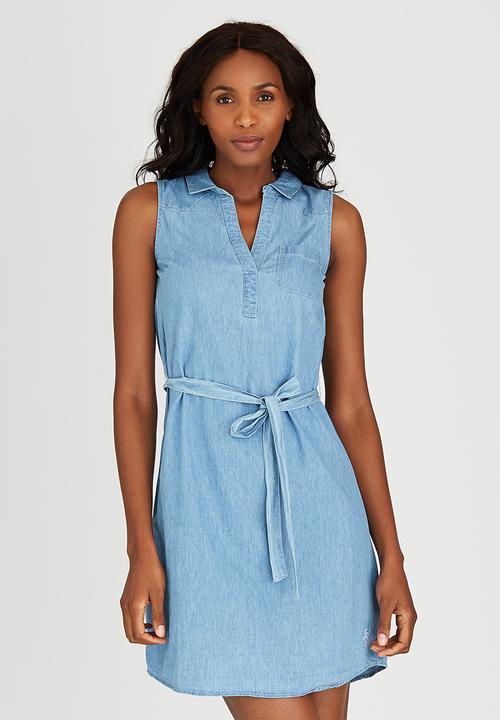 125fc12d65 Denim Shirt Dress Pale Blue JEEP Casual