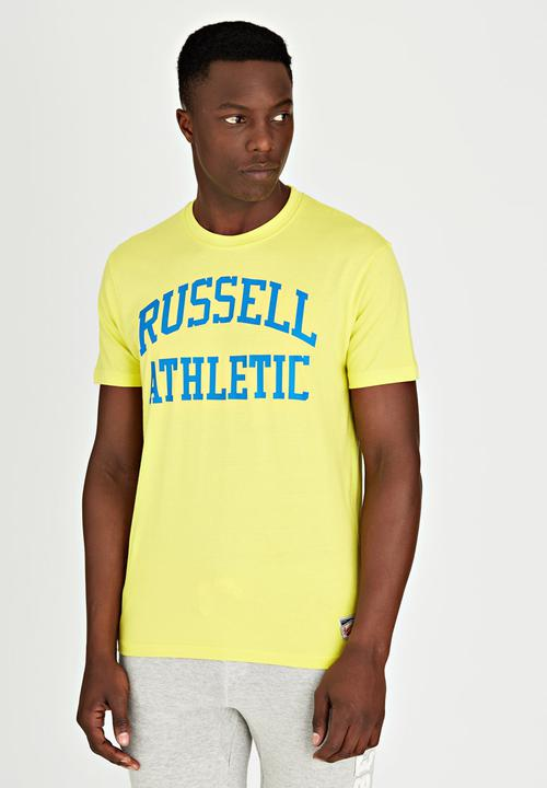 Crew Neck Arch Logo Print T-Shirt Green Russell Athletic T-Shirts ... 17f2a5807ba6f