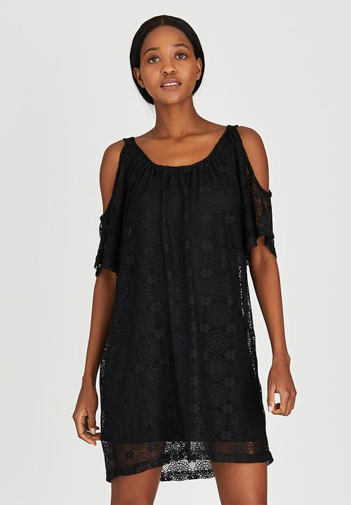 e2389054f05 Cold Shoulder Lace Dress Black c(inch) Casual