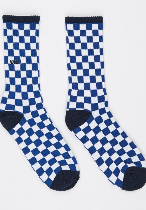 77125d2c9ecf66 Checkerboard Crew Socks Blue and White Vans Socks