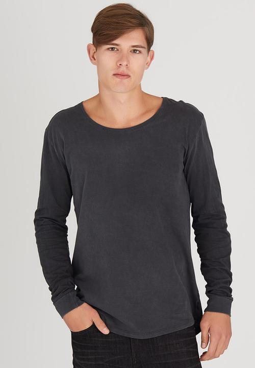 b59df514bf L/S Pigment Tail Tee Dark Grey